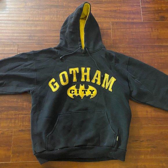 Vintage Batman Gotham City Black Hoodie Sweatshirt